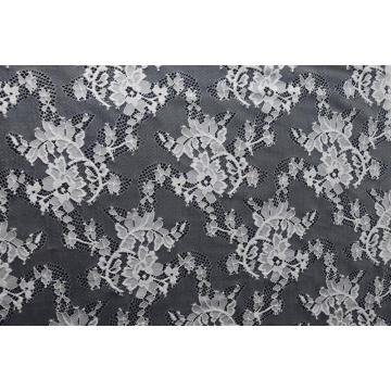 Nylon Polyester Flower Pattern Lace Fabric
