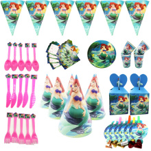 Mermaid Theme Wholesale paper Flags Plate Cap Baby Happy Birthday wedding event party supplies for kids Party decoration