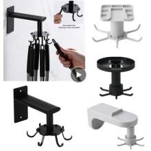 Bath Rotating Hook Kitchen Bathroom Rotatable 6 Hooks Hanging Rack Space Self-Adhesive Stainless-Steel Wall-Hook Robe Hook