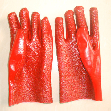 Red PVC terry gloves with flannelette lining