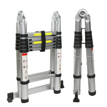 Double side telescopic aluminum ladder