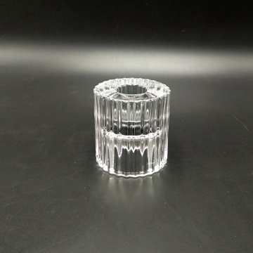 Ridged Double Purpose Glass Candle Holder