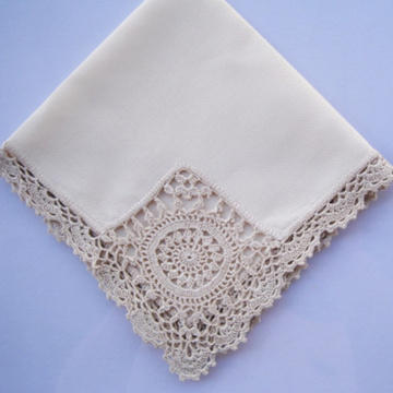 Hight quality white handkerchief embroidery lace