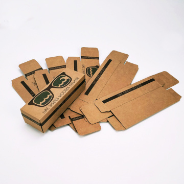 Brown kraft sunglass box packaging custom logo