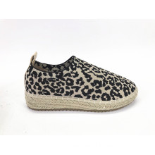 Ladies Animal Printed Fabric Jute Espadrilles Sneaker