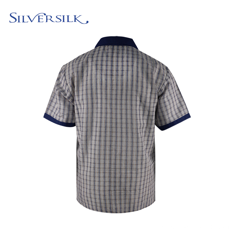 Linen Rayon Men Blouse Plaid Shirts Short Sleeves