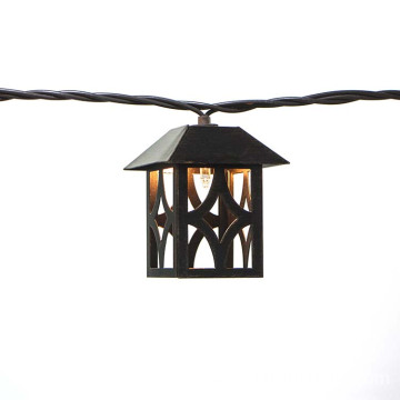 Antique Brass Metal House Patio String Light