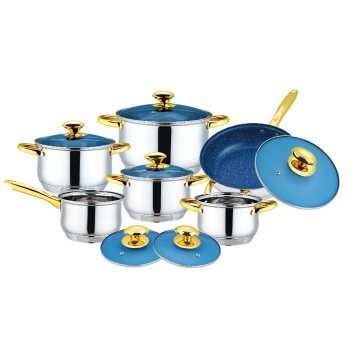 Stainless Steel Cookware Set with Blue Glass