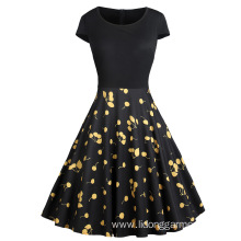 Gathered Waist Large Print Panel Dress Prom Dress