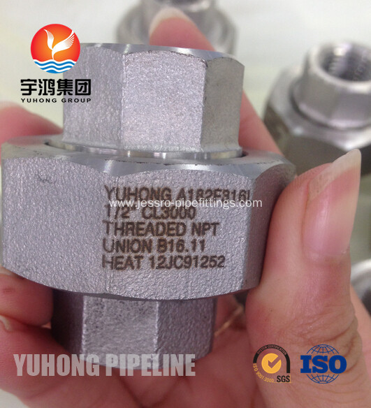 "A182 F316L 1/2"" CL3000 Threaded NPT Union B16.11"