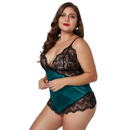 Fascinated plus size transparent Lace women nightwear