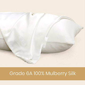 Silk Bed Pillowcase Hidden Zipper 2Pack King Size