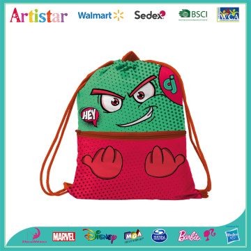 CJ red and green drawstring bag
