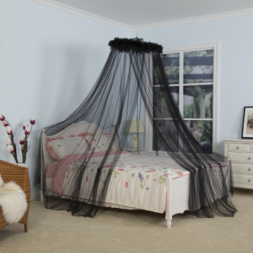 Mysterious Black Feather Umbrella Mosquito Net Bed