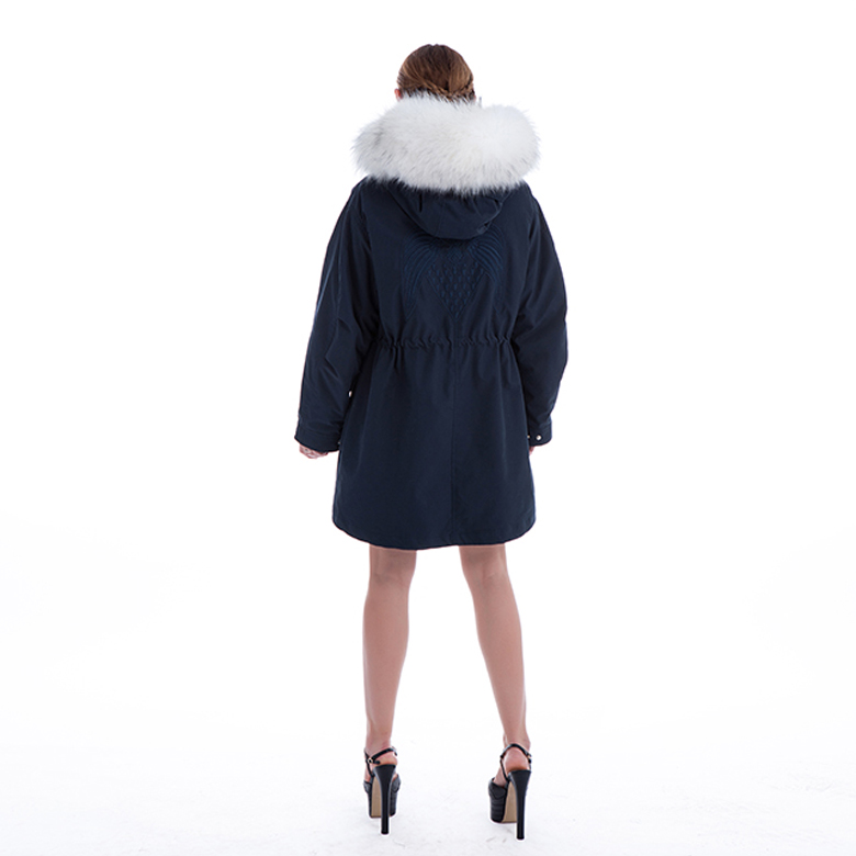 _White Plush collar Parker coat