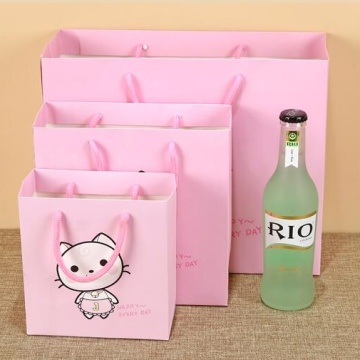 Pink Nordic Style 4C Printed Paper Gift Bags