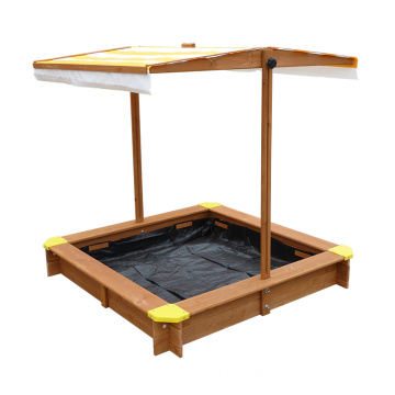 Wooden Outdoor Kids Square sandbox with lid