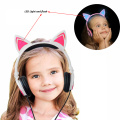 Cartoon Kids LED Light Up Cat Ear Headphones