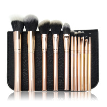 11pc Rose gold metal makeup brush collection