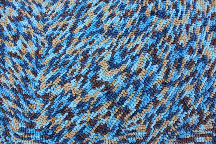 polyester soft yarn with loop and design BLUE