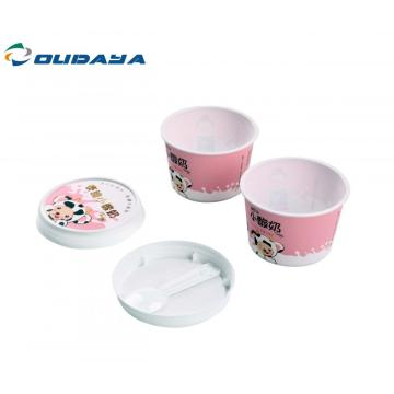 yoghurt cup with lid and spoon