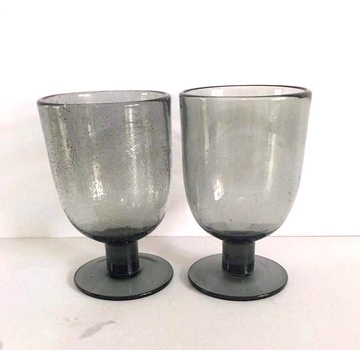 popular grey color bubble glass wine cups