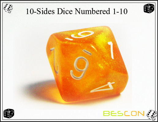 10-Sides Dice Numbered 1-10