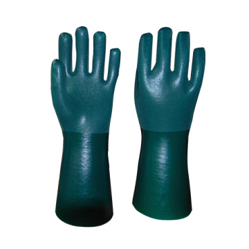 Green PVC coated gloves sandy finish 14inch