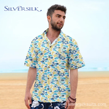 Vintage Print Fish Leaf Shirts Sublimation for Men