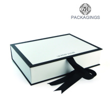 Luxury ribbon enclosure book shape packaging box