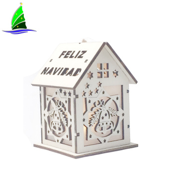 LED Light Wood House Christmas Ornaments Luminous Decoration
