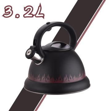 Black Flame Pattern Stainless Steel Whistling Water Kettle