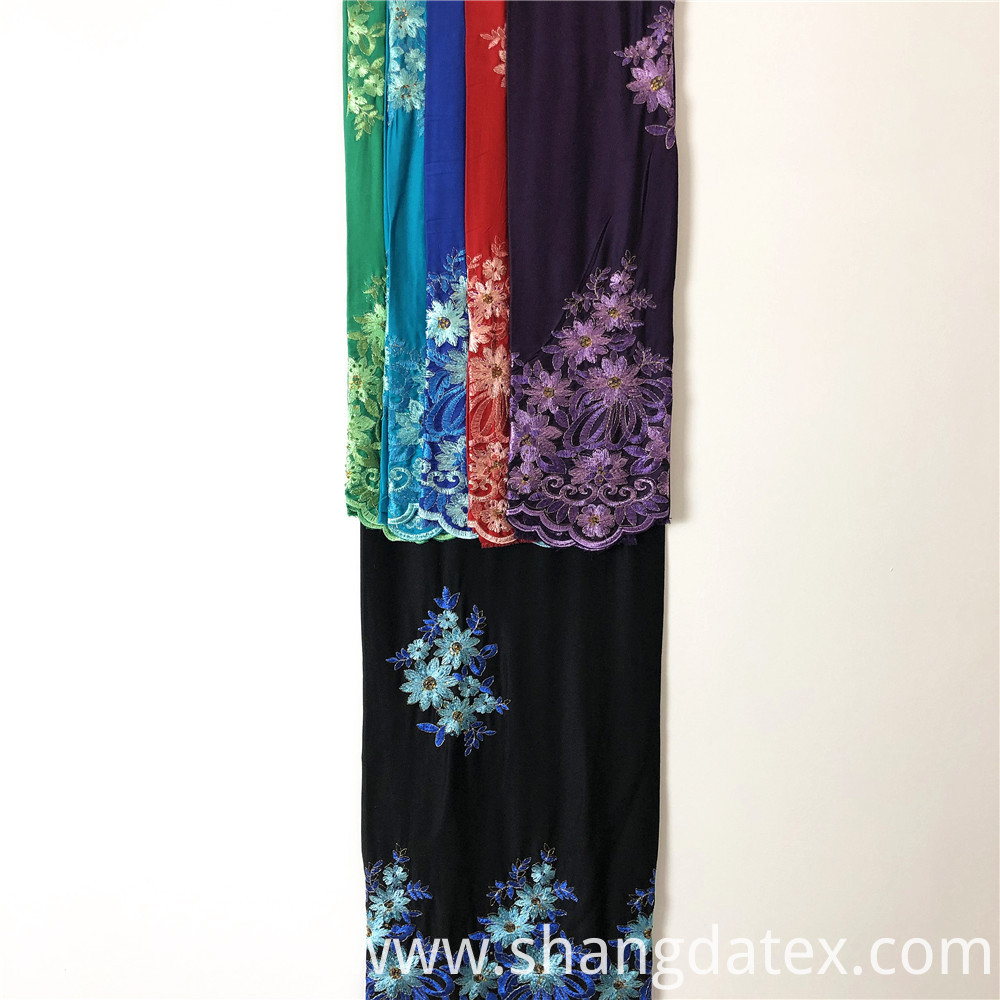 Black Ground Rayon Satin Embroidery