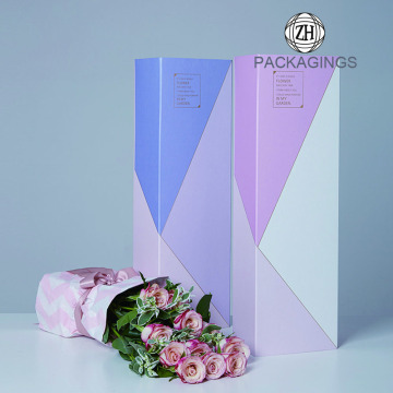 Rectangle rigid cardboard paper gift flower box