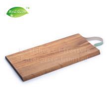 Long Acacia Wood Cutting Board With Leather Strap