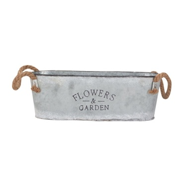 Oval Galvanized Flowers Garden Metal Planter Pots