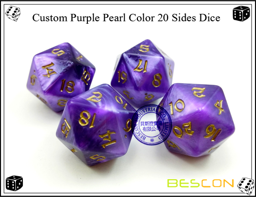Custom Purple Pearl Color 20 Sides Dice