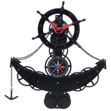 Black Anchor Gear Clock For Decor