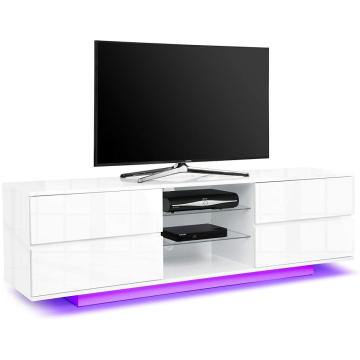 Popular LED White Corner TV Stand with Storage