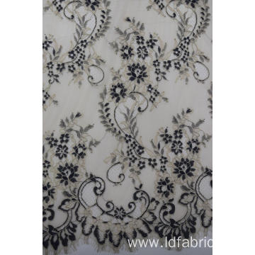 Nylon Polyester Cation Yarn-dyed Panel Lace Fabric