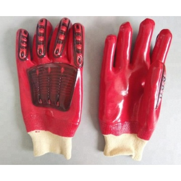 Red TPR PVC Coated Glove.Knit Wrist