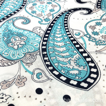 Nice Paisley Design With Silver Stone Viscose Printed