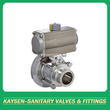 3A Sanitary pneumatic 3-Piece tank bottom ball valve