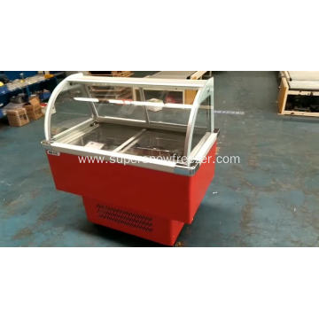 Cheap ice cream display freezer with round buckets