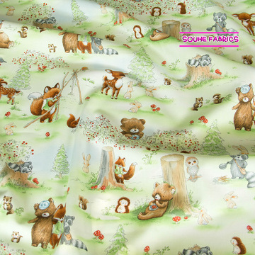 Half-Meter Cotton Fabric Patchwork Quilting Fabric Timeless Treasures Forest Friends Activities Pistachio