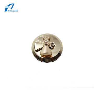 Rotary Lock Hardware Parts with Pearls Handbag Lock