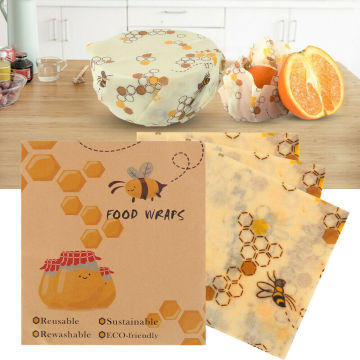 hot sale Reusable Natural Beeswax Reusable Food Wraps Eco Living No More Plastic Bee Wax Cloth Fruit Storage Pouch Food Wraps