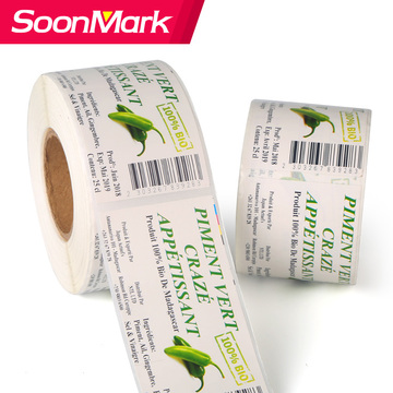 Custom design fruit vegetable packaging adhesive labels