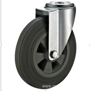 80mm European industrial rubber  swivel caster without brake