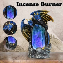 LED Dual Dragon Backflow Incense Burner Handicraft Ceramic Incense Holder Waterfall Smoke Censer with Cone Home Decor